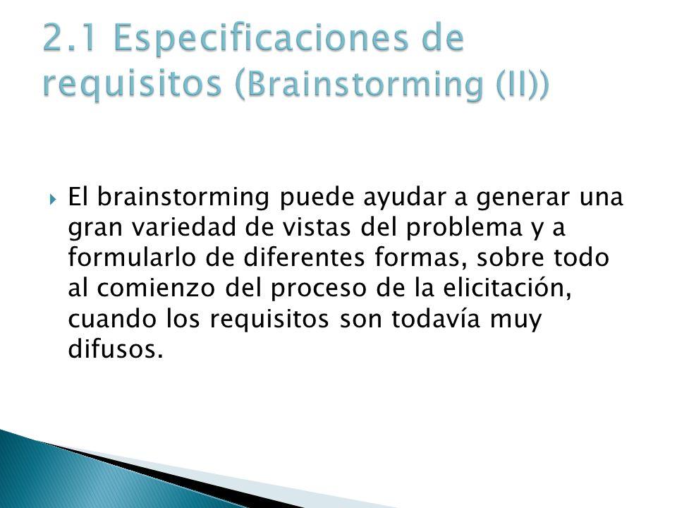 El brainstorming puede ayudar a generar una gran variedad de vistas del problema y a formularlo de diferentes formas, sobre todo al comienzo del proce