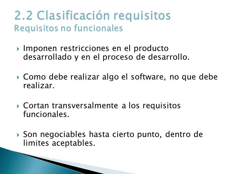 Imponen restricciones en el producto desarrollado y en el proceso de desarrollo. Como debe realizar algo el software, no que debe realizar. Cortan tra