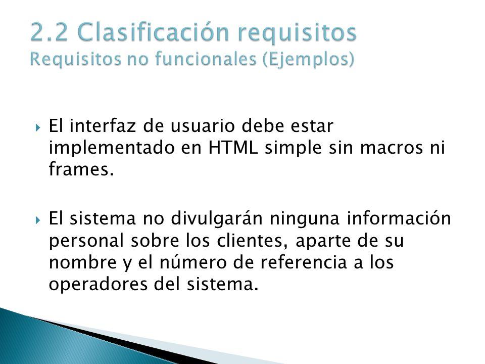El interfaz de usuario debe estar implementado en HTML simple sin macros ni frames. El sistema no divulgarán ninguna información personal sobre los cl