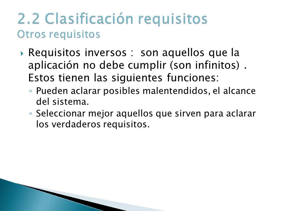 Requisitos inversos : son aquellos que la aplicación no debe cumplir (son infinitos). Estos tienen las siguientes funciones: Pueden aclarar posibles m