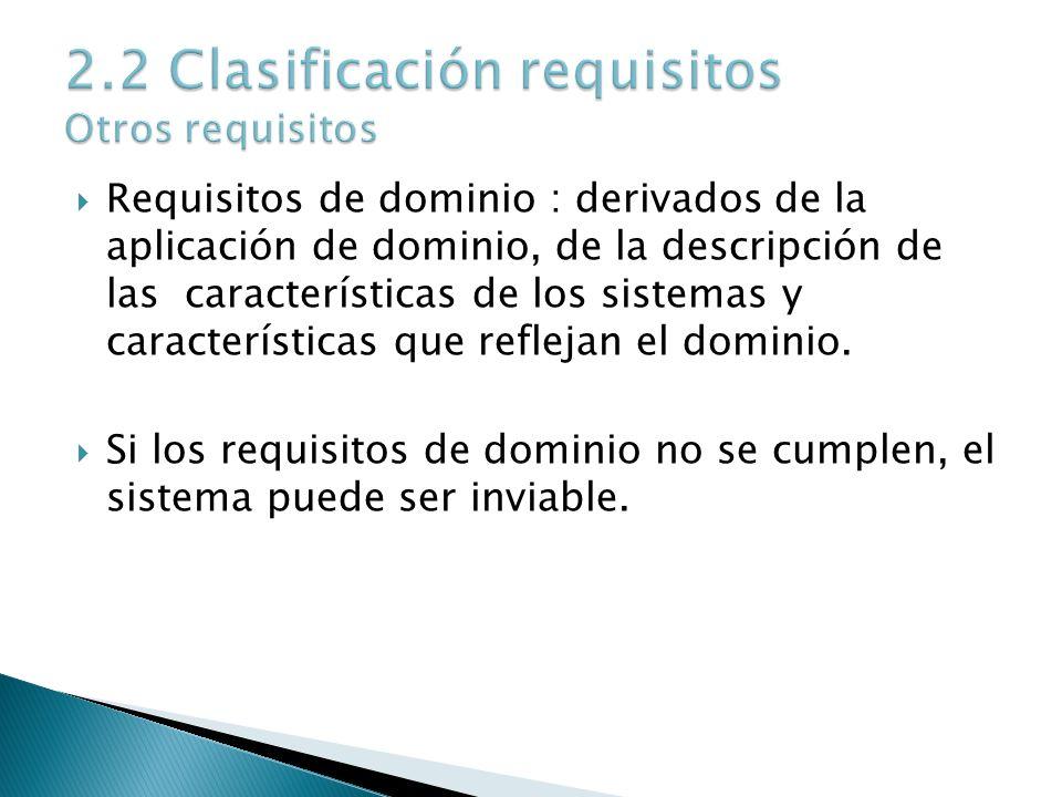 Requisitos de dominio : derivados de la aplicación de dominio, de la descripción de las características de los sistemas y características que reflejan