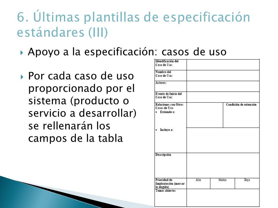 Apoyo a la especificación: casos de uso Por cada caso de uso proporcionado por el sistema (producto o servicio a desarrollar) se rellenarán los campos
