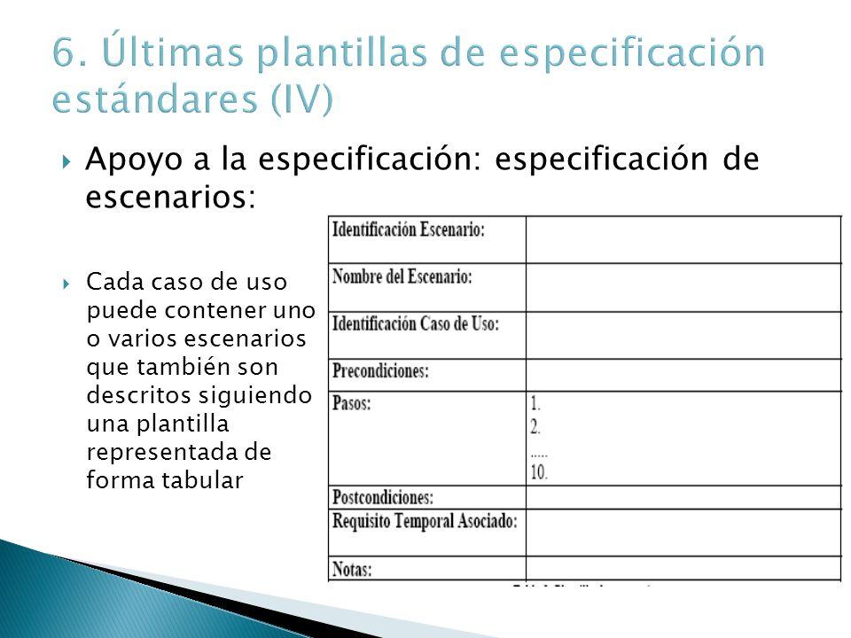 Apoyo a la especificación: especificación de escenarios: Cada caso de uso puede contener uno o varios escenarios que también son descritos siguiendo u