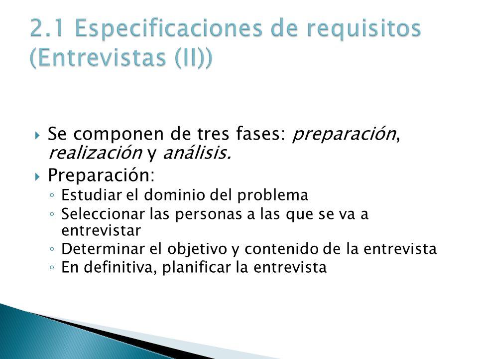 Se componen de tres fases: preparación, realización y análisis. Preparación: Estudiar el dominio del problema Seleccionar las personas a las que se va