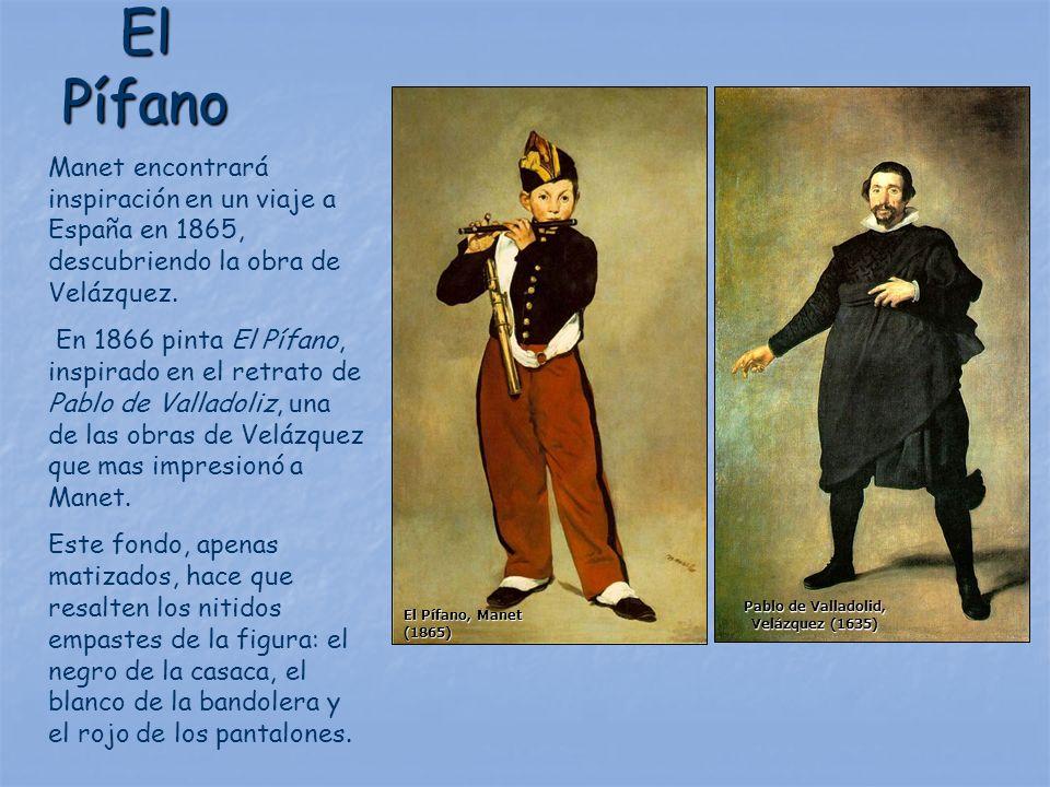 El Pífano Manet encontrará inspiración en un viaje a España en 1865, descubriendo la obra de Velázquez. En 1866 pinta El Pífano, inspirado en el retra