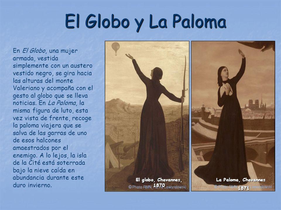 El Globo y La Paloma En El Globo, una mujer armada, vestida simplemente con un austero vestido negro, se gira hacia las alturas del monte Valeriano y