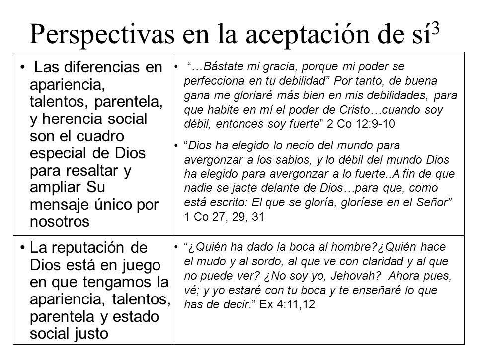 Perspectivas en la aceptación de sí 3 Las diferencias en apariencia, talentos, parentela, y herencia social son el cuadro especial de Dios para resalt