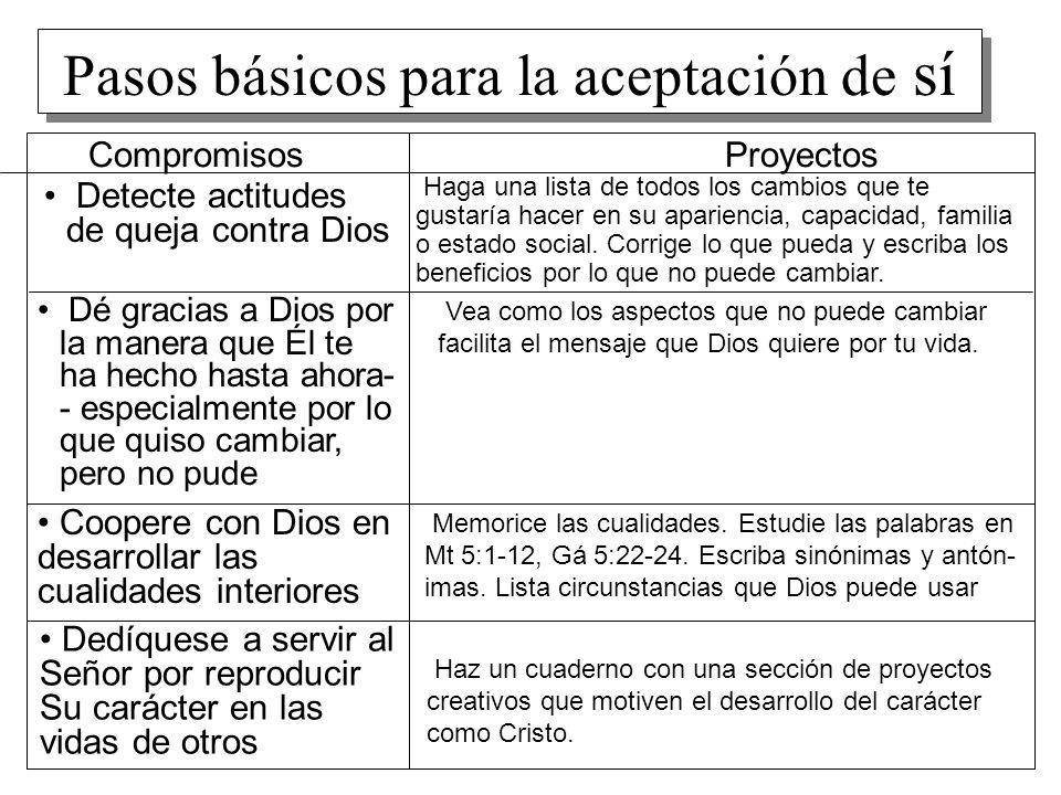 Pasos básicos para la aceptación de sí CompromisosProyectos Detecte actitudes de queja contra Dios Haga una lista de todos los cambios que te gustaría