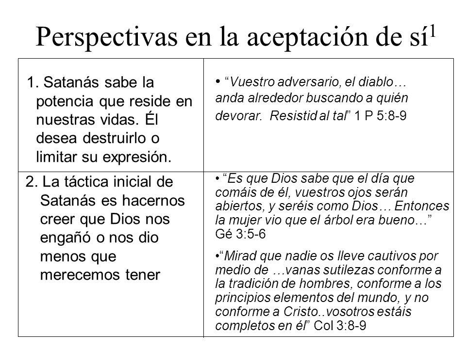 Perspectivas en la aceptación de sí 1 1. Satanás sabe la potencia que reside en nuestras vidas. Él desea destruirlo o limitar su expresión. Vuestro ad