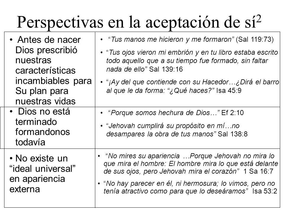 Perspectivas en la aceptación de sí 2 Antes de nacer Dios prescribió nuestras características incambiables para Su plan para nuestras vidas Tus manos