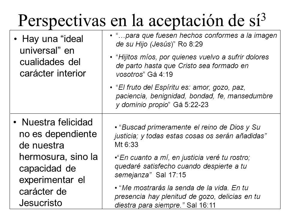 Perspectivas en la aceptación de sí 3 Hay una ideal universal en cualidades del carácter interior …para que fuesen hechos conformes a la imagen de su