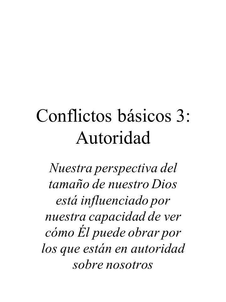 Conflictos básicos 3: Autoridad Nuestra perspectiva del tamaño de nuestro Dios está influenciado por nuestra capacidad de ver cómo Él puede obrar por