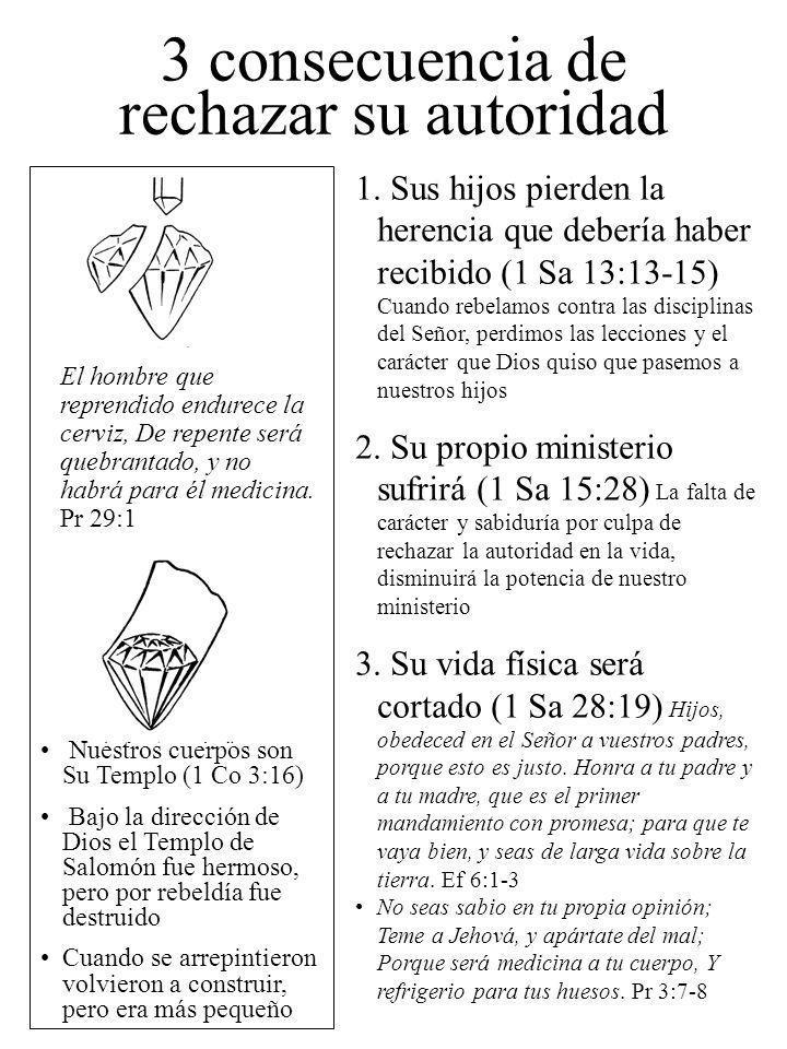3 consecuencia de rechazar su autoridad 1. Sus hijos pierden la herencia que debería haber recibido (1 Sa 13:13-15) Cuando rebelamos contra las discip