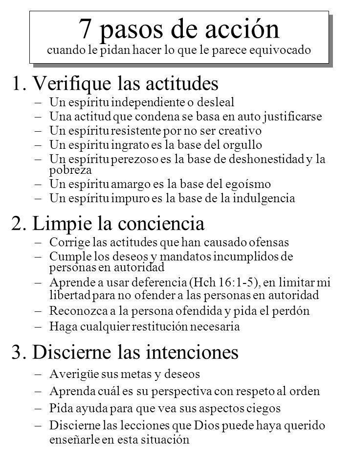 7 pasos de acción cuando le pidan hacer lo que le parece equivocado 1. Verifique las actitudes –Un espíritu independiente o desleal –Una actitud que c