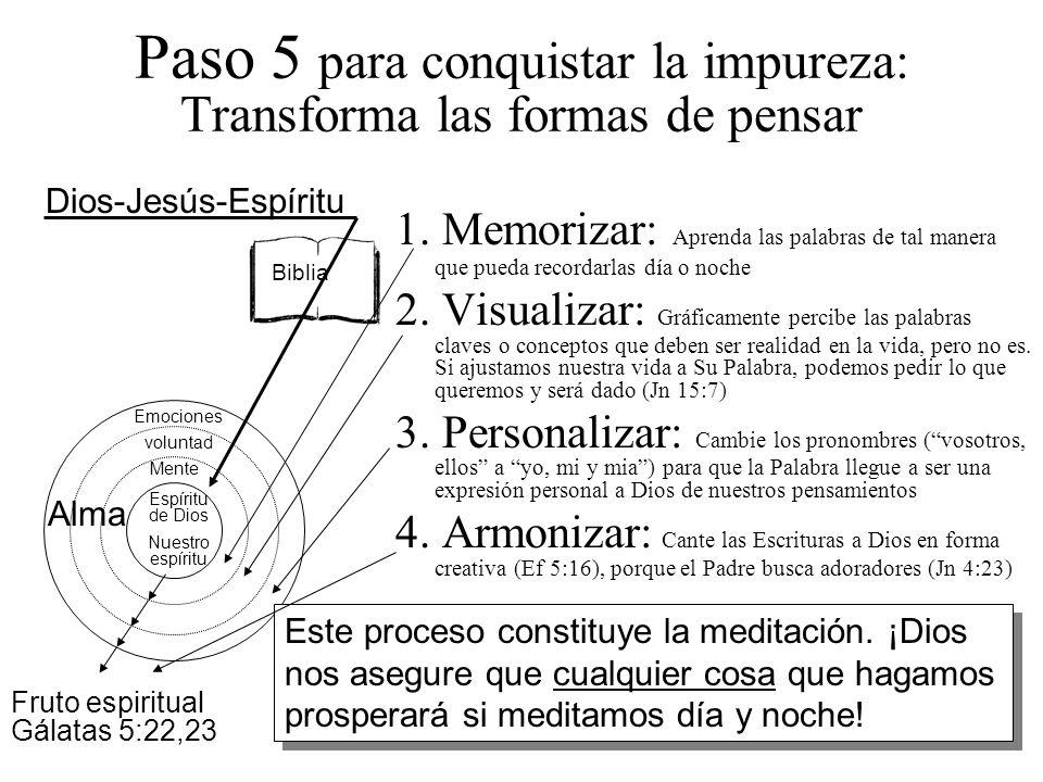 Paso 5 para conquistar la impureza: Transforma las formas de pensar 1. Memorizar: Aprenda las palabras de tal manera que pueda recordarlas día o noche