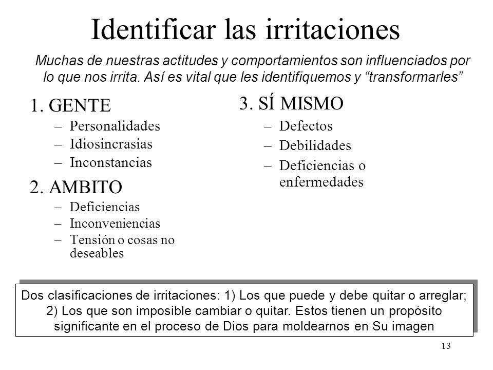 13 Identificar las irritaciones 1. GENTE –Personalidades –Idiosincrasias –Inconstancias 2. AMBITO –Deficiencias –Inconveniencias –Tensión o cosas no d