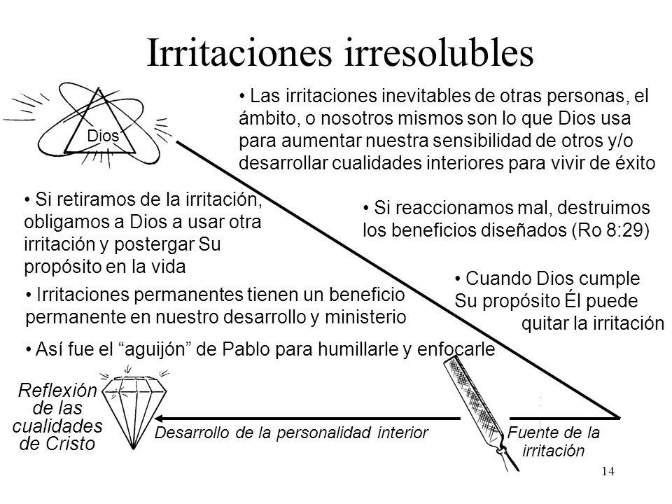 14 Dios Irritaciones irresolubles Reflexión de las cualidades de Cristo Desarrollo de la personalidad interior Fuente de la irritación Las irritacione