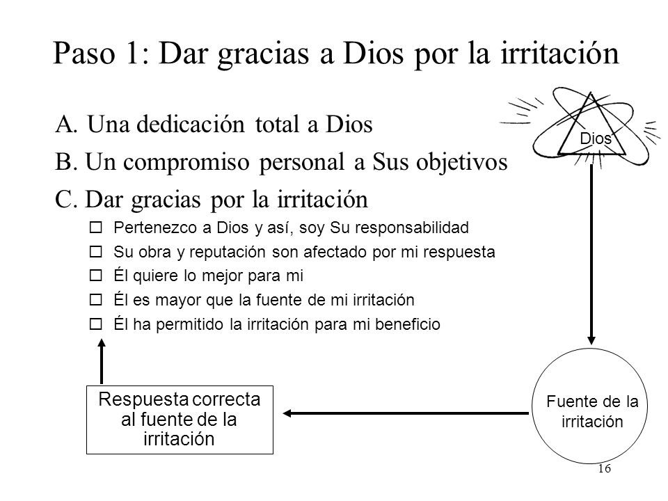 16 Dios Paso 1: Dar gracias a Dios por la irritación A. Una dedicación total a Dios B. Un compromiso personal a Sus objetivos C. Dar gracias por la ir