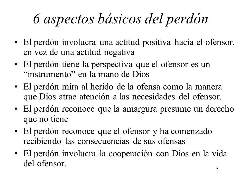 2 6 aspectos básicos del perdón El perdón involucra una actitud positiva hacia el ofensor, en vez de una actitud negativa El perdón tiene la perspecti