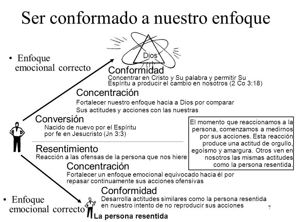 7 Dios Ser conformado a nuestro enfoque Conversión Nacido de nuevo por el Espíritu por fe en Jesucristo (Jn 3:3) Enfoque emocional correcto Concentrac