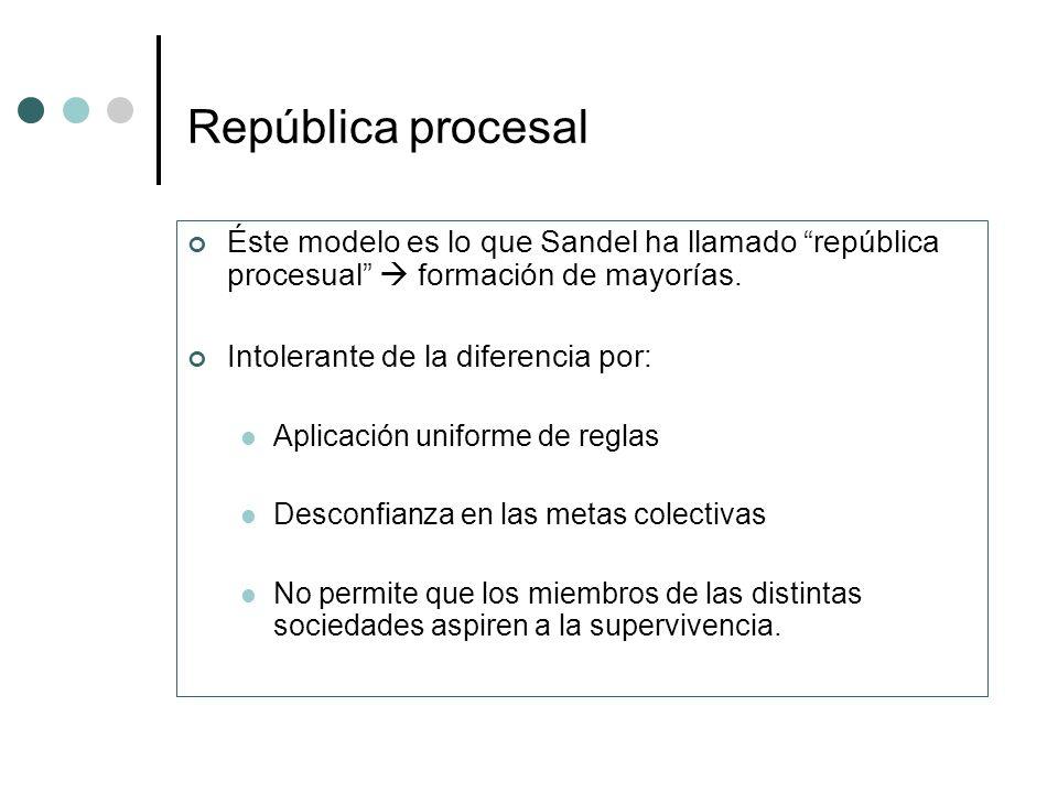República procesal Éste modelo es lo que Sandel ha llamado república procesual formación de mayorías. Intolerante de la diferencia por: Aplicación uni