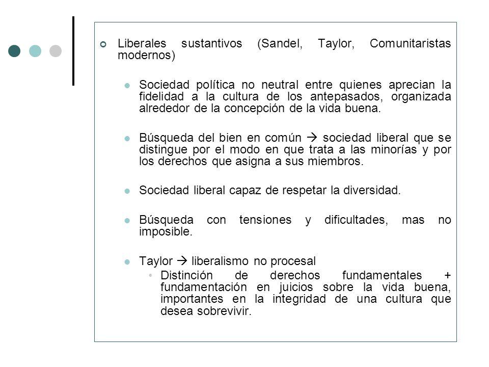 Liberales sustantivos (Sandel, Taylor, Comunitaristas modernos) Sociedad política no neutral entre quienes aprecian la fidelidad a la cultura de los a