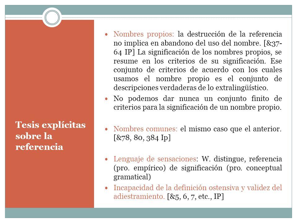 Tesis explícitas sobre la referencia Nombres propios: la destrucción de la referencia no implica en abandono del uso del nombre. [&37- 64 IP] La signi