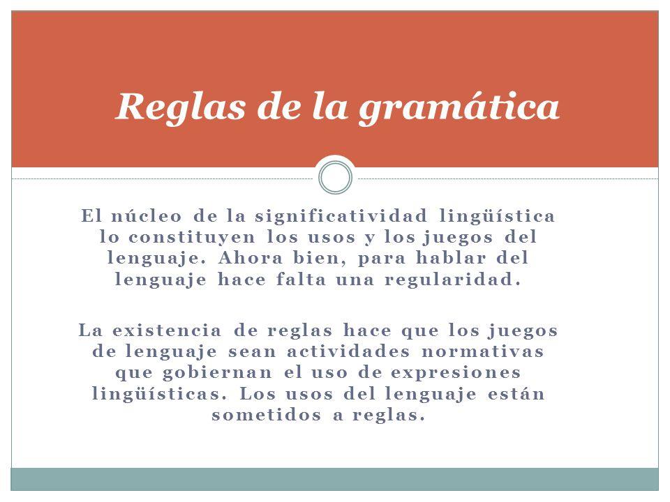 El núcleo de la significatividad lingüística lo constituyen los usos y los juegos del lenguaje. Ahora bien, para hablar del lenguaje hace falta una re