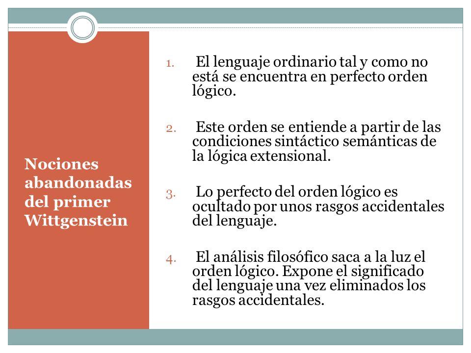 Nociones abandonadas del primer Wittgenstein 1. El lenguaje ordinario tal y como no está se encuentra en perfecto orden lógico. 2. Este orden se entie