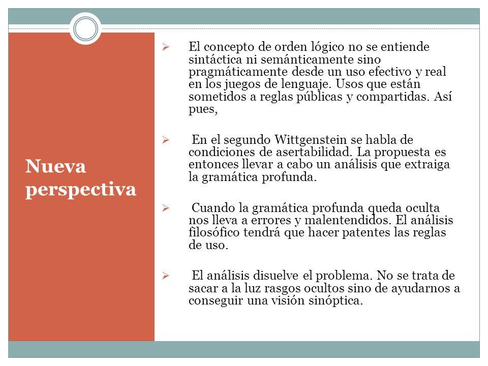 Nueva perspectiva El concepto de orden lógico no se entiende sintáctica ni semánticamente sino pragmáticamente desde un uso efectivo y real en los jue