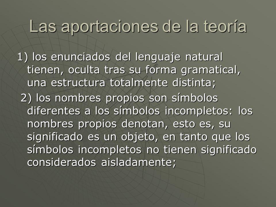 Las aportaciones de la teoría 1) los enunciados del lenguaje natural tienen, oculta tras su forma gramatical, una estructura totalmente distinta; 2) l