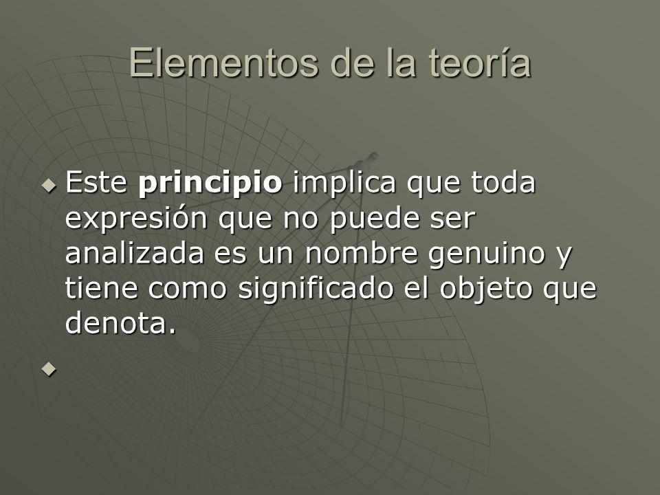 Elementos de la teoría Este principio implica que toda expresión que no puede ser analizada es un nombre genuino y tiene como significado el objeto qu