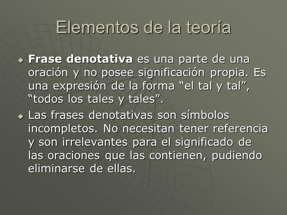 Elementos de la teoría Frase denotativa es una parte de una oración y no posee significación propia. Es una expresión de la forma el tal y tal, todos