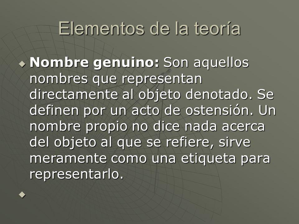 Elementos de la teoría Nombre genuino: Son aquellos nombres que representan directamente al objeto denotado. Se definen por un acto de ostensión. Un n