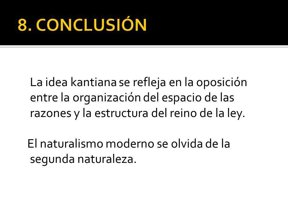 La idea kantiana se refleja en la oposición entre la organización del espacio de las razones y la estructura del reino de la ley.