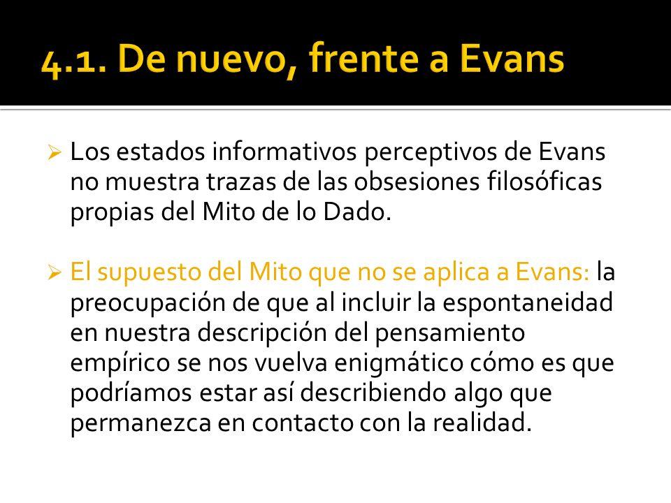 Los estados informativos perceptivos de Evans no muestra trazas de las obsesiones filosóficas propias del Mito de lo Dado. El supuesto del Mito que no
