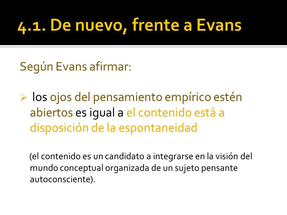 Según Evans afirmar: los ojos del pensamiento empírico estén abiertos es igual a el contenido está a disposición de la espontaneidad (el contenido es