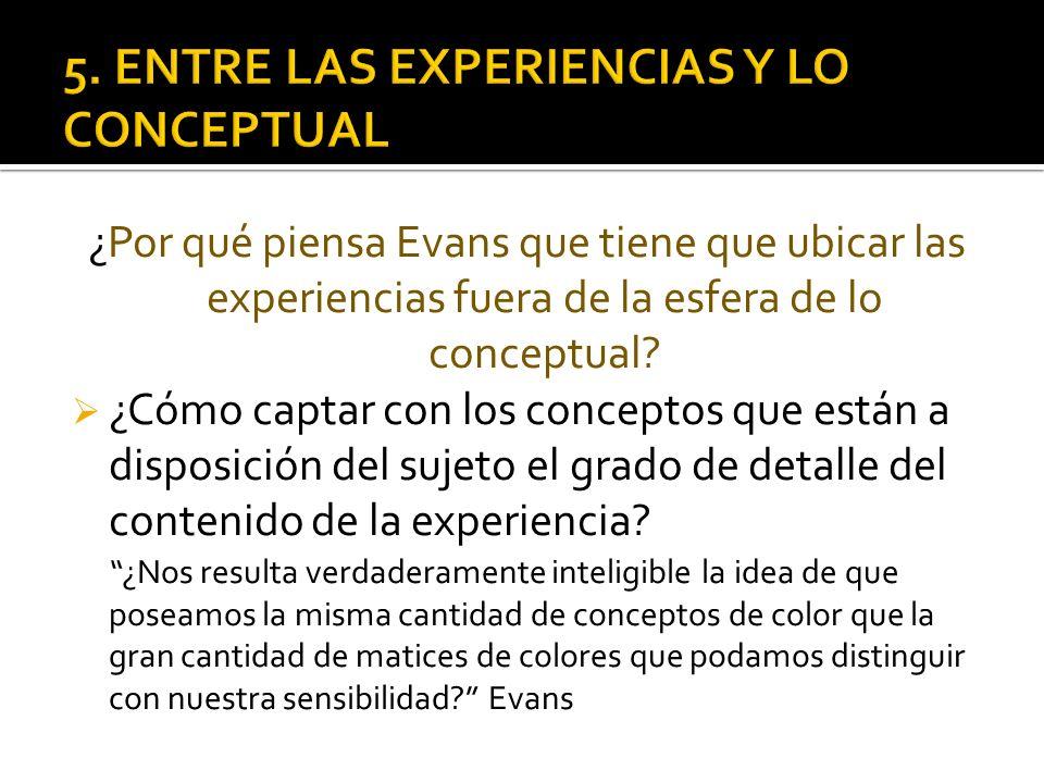 ¿Por qué piensa Evans que tiene que ubicar las experiencias fuera de la esfera de lo conceptual? ¿Cómo captar con los conceptos que están a disposició