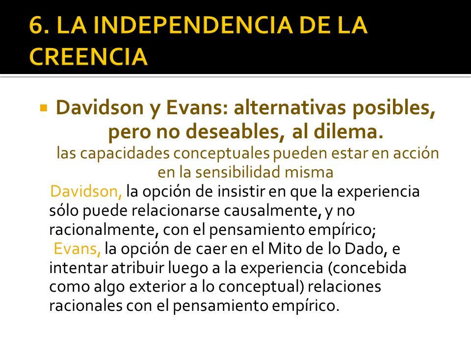 Davidson y Evans: alternativas posibles, pero no deseables, al dilema. las capacidades conceptuales pueden estar en acción en la sensibilidad misma Da