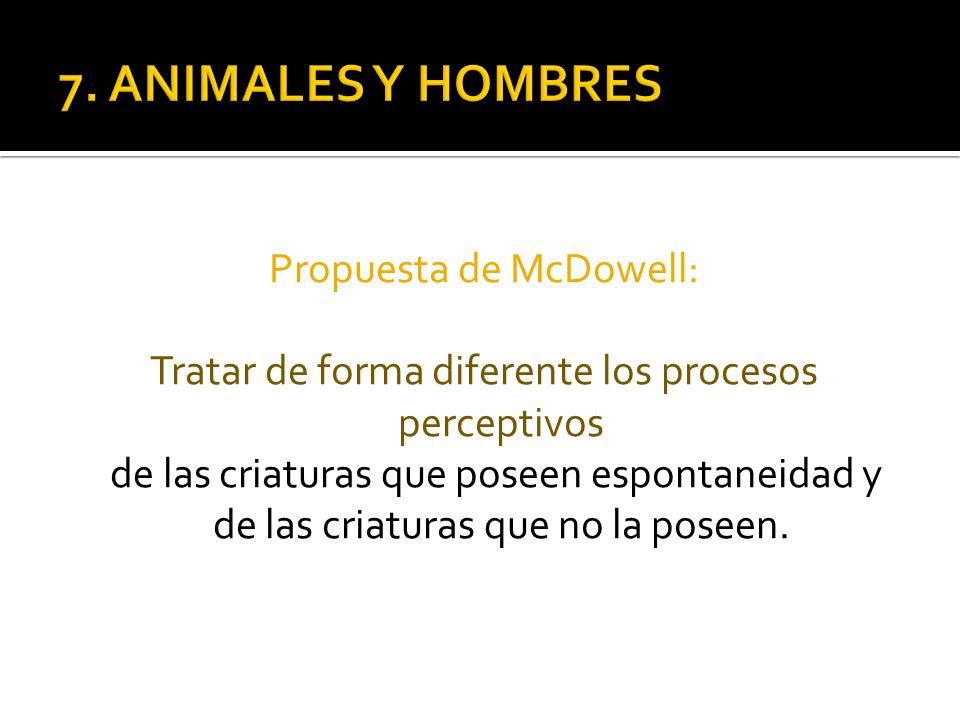 Propuesta de McDowell: Tratar de forma diferente los procesos perceptivos de las criaturas que poseen espontaneidad y de las criaturas que no la posee