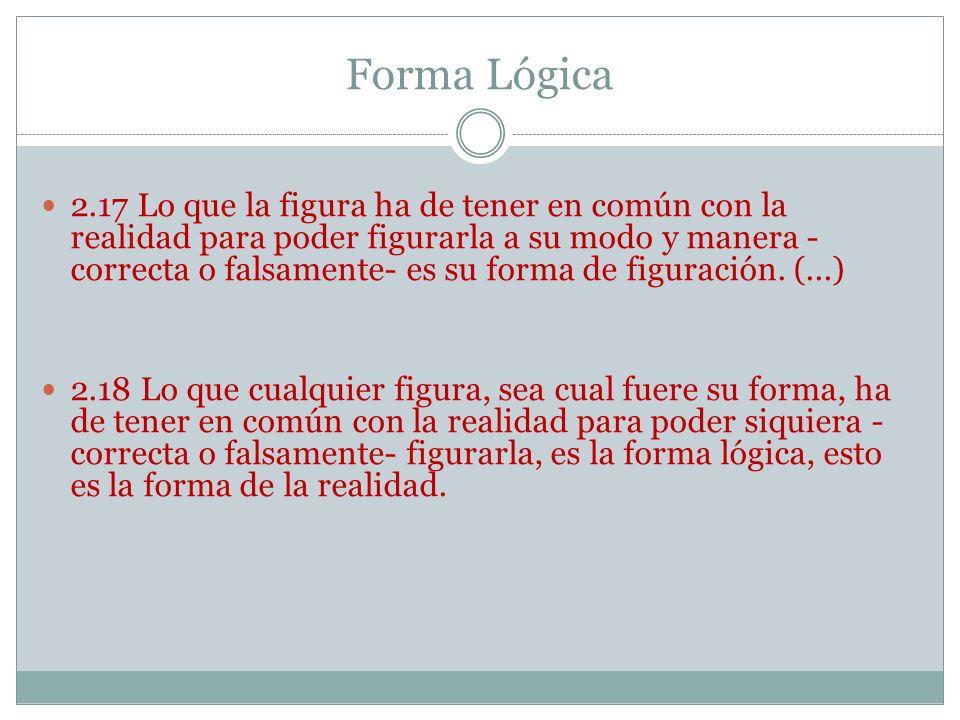 Forma Lógica 2.17 Lo que la figura ha de tener en común con la realidad para poder figurarla a su modo y manera - correcta o falsamente- es su forma de figuración.