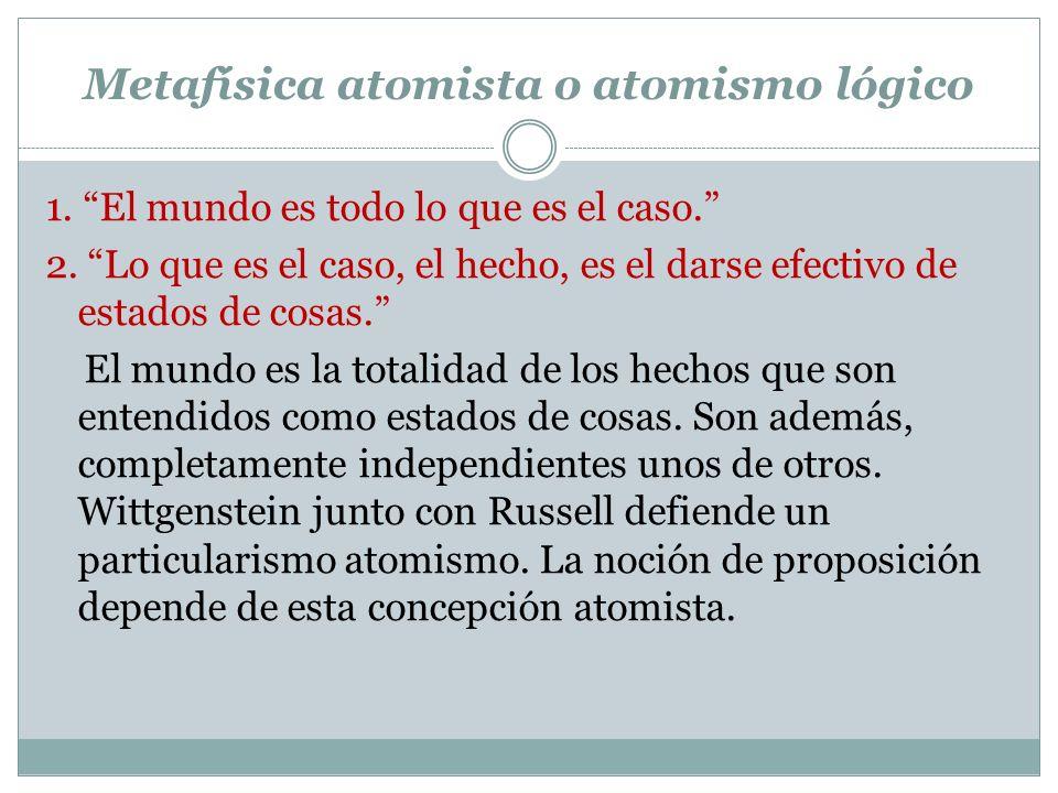 Metafísica atomista o atomismo lógico 1.El mundo es todo lo que es el caso.