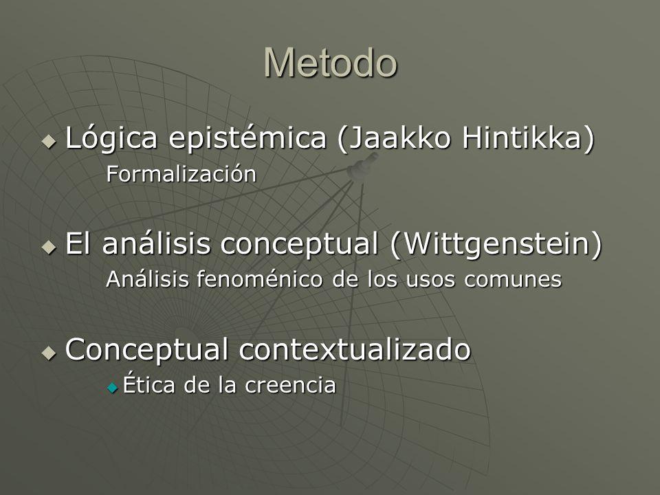 Metodo Lógica epistémica (Jaakko Hintikka) Lógica epistémica (Jaakko Hintikka)Formalización El análisis conceptual (Wittgenstein) El análisis conceptu