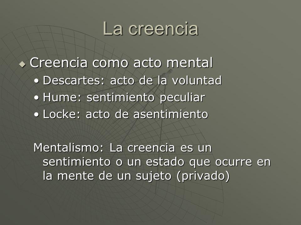 La creencia Creencia como acto mental Creencia como acto mental Descartes: acto de la voluntadDescartes: acto de la voluntad Hume: sentimiento peculia