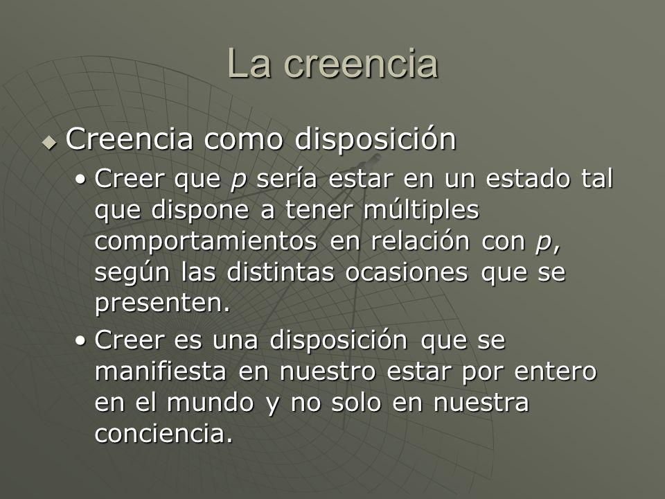 La creencia Creencia como disposición Creencia como disposición Creer que p sería estar en un estado tal que dispone a tener múltiples comportamientos