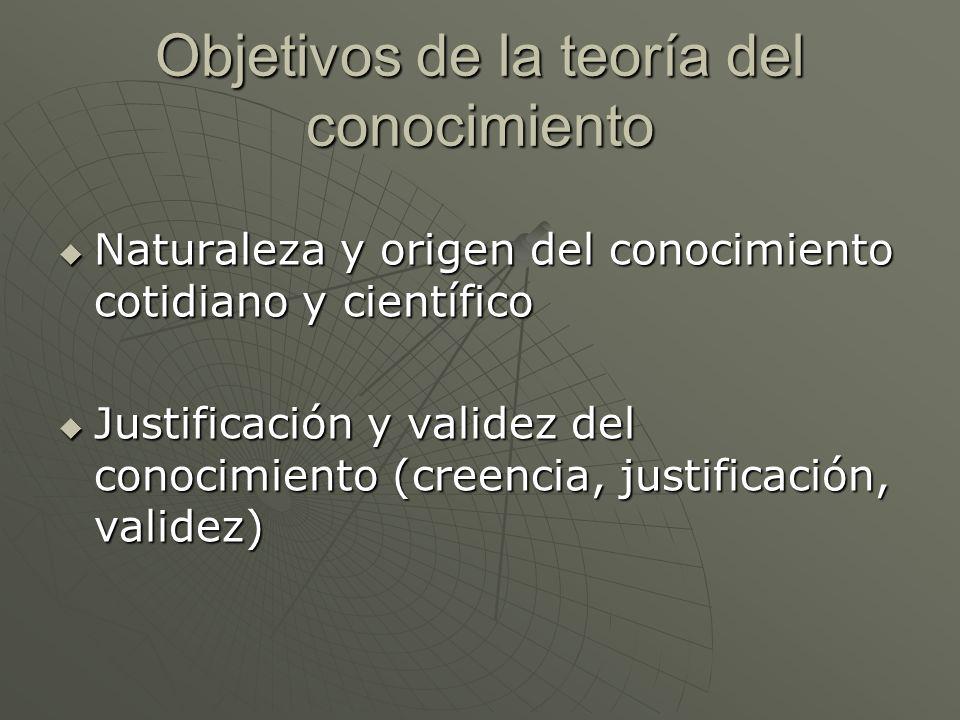 Objetivos de la teoría del conocimiento Naturaleza y origen del conocimiento cotidiano y científico Naturaleza y origen del conocimiento cotidiano y c