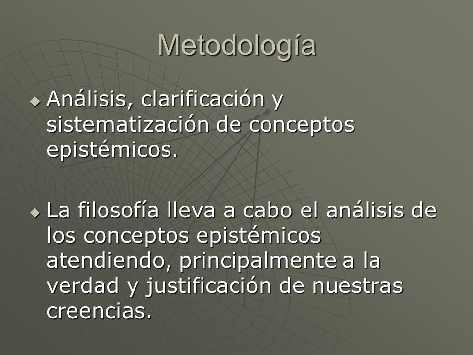 Metodología Análisis, clarificación y sistematización de conceptos epistémicos. Análisis, clarificación y sistematización de conceptos epistémicos. La