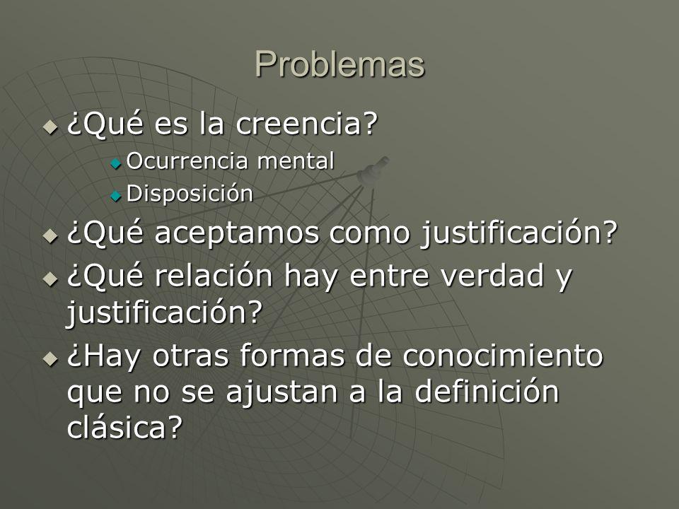 Problemas ¿Qué es la creencia? ¿Qué es la creencia? Ocurrencia mental Ocurrencia mental Disposición Disposición ¿Qué aceptamos como justificación? ¿Qu