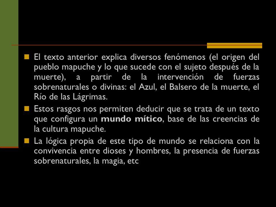 El texto anterior explica diversos fenómenos (el origen del pueblo mapuche y lo que sucede con el sujeto después de la muerte), a partir de la interve