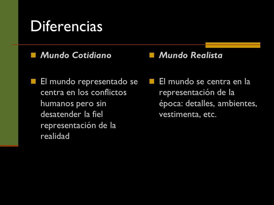 Diferencias Mundo Cotidiano El mundo representado se centra en los conflictos humanos pero sin desatender la fiel representación de la realidad Mundo